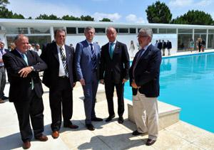 El diputado Jaime Trobo, el presidente del Centro Gallego, Jorge Torres, Alfonso Rueda, Santiago Camba y el delegado de la Xunta en Uruguay, Manuel Barros.