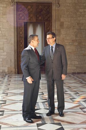 Artur Mas recibió a Paulino Rivero en la sede de la Presidencia de la Generalitat catalana.