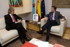 El embajador alemán, Reinhard Silberberg, con el presidente de la Xunta, Alberto Núñez Feijóo.