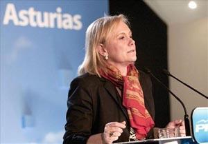 La candidata del PP, Mercedes Fernández, tras el resultado del 25 de marzo.