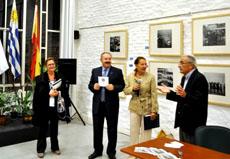 La consejera de Empleo,Rosa Fuentes, Ramón Villares, la embajadora Aurora Díaz y el vicepresidente del Patronato, Nelson Regueiro.