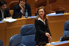 Marta Fernández Currás en el Parlamento gallego.