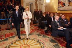 Feijóo y De la Vega poco antes de la rueda de prensa tras su reunión en Santiago.