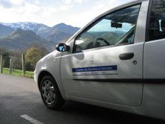 El costado izquierdo del coche está escrito en asturiano, y el derecho, en castellano.