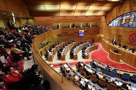 Vista del salón de plenos del Parlamento de Galicia en el debate sobre el estado de la Autonomía.