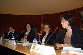 Pedro José Sanz, Carmen Moya, Jimena Sanclemente y Ana Gallego en la presentación de la campaña.