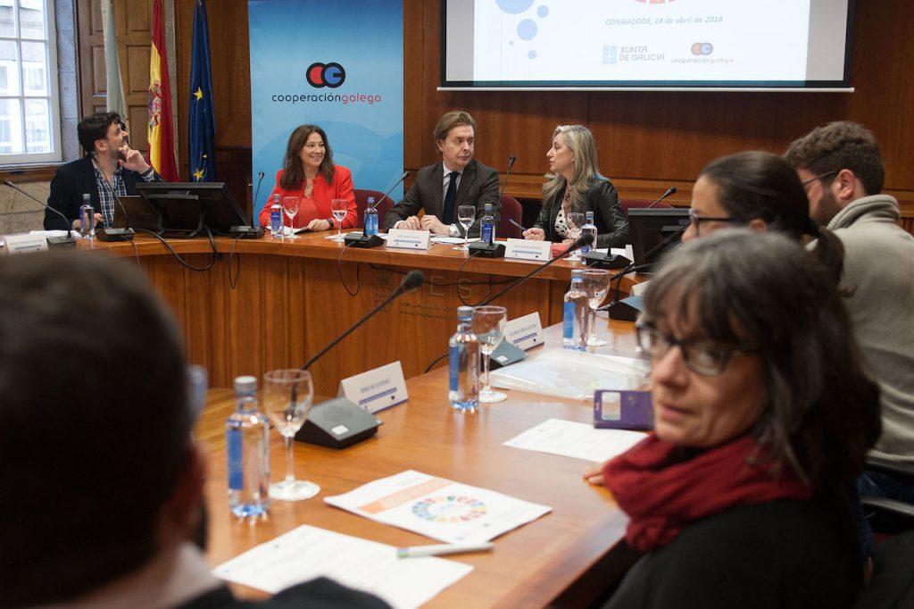 Imagen de la reunión del Consello Galego de Cooperación para o Desenvolvemento que presidió el director xeral  Jesús Gamallo (al fondo).