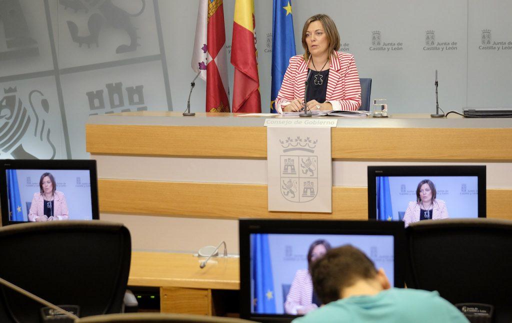 La consejera de Agricultura y Ganadería y Portavoz de la Junta, Milagros Marcos, en la rueda de prensa posterior al Consejo de Gobierno.