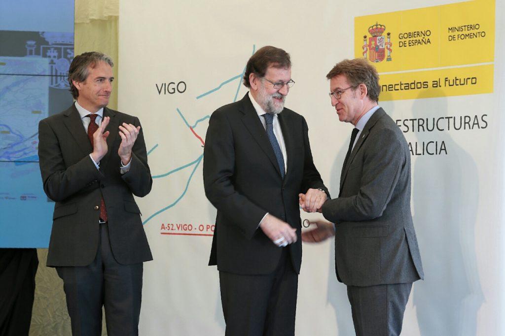 Feijóo con el presidente del Gobierno y el ministro de Fomento en la visita a las obras del tramo Vilaboa-A Ermida de la A-57.
