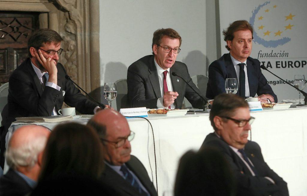 El presidente de la Xunta, Alberto Núñez Feijóo, intervino en el Foro Gallego del Brexit.