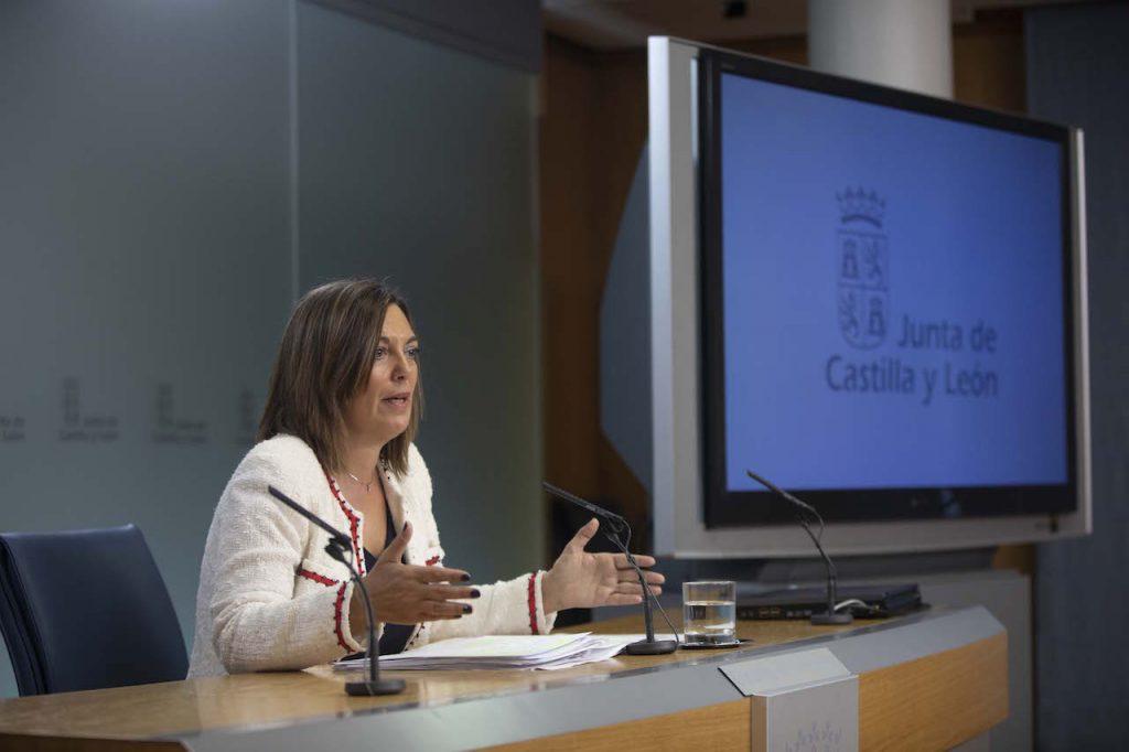 La consejera portavoz de la Junta, Milagros Marcos, en la rueda de prensa tras el Consejo de Gobierno que aprobó esta iniciativa.
