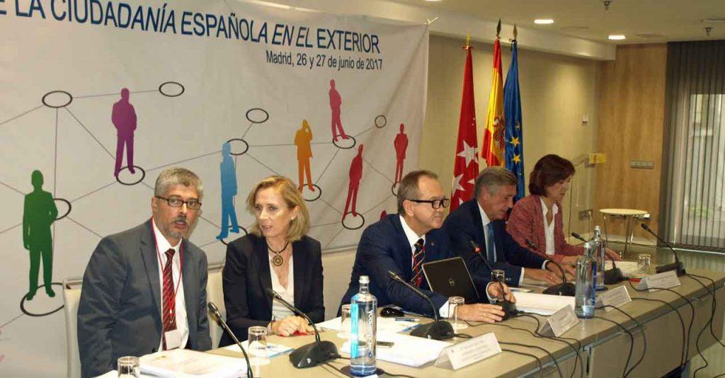Ildefonso de la Campa, Marina del Corral, Eduardo Dizy, el anterior subsecretario de Asuntos Exteriores, Cristóbal González-Aller, y María Victoria González-Bueno en el I Pleno del VII Mandato del CGCEE celebrado en Madrid a finales de junio de 2017.
