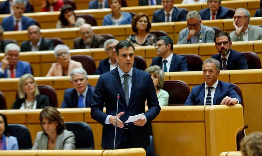 Un momento de la intervención de Pedro Sánchez en el Senado el pasado 19 de junio.