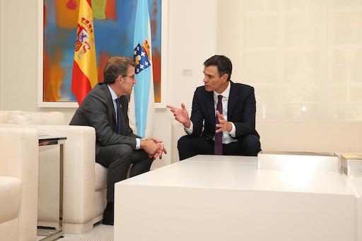El presidente de la Xunta, Alberto Núñez Feijóo, se reunió con el titular del Gobierno de España, Pedro Sánchez, en La Moncloa.