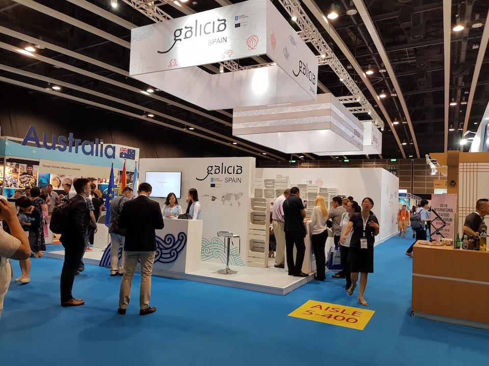 Stand de la Xunta de Galicia en la feria Seafood Expo Asia, que se celebró en Hong Kong.