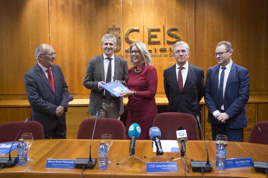 El vicepresidente de la Xunta, Alfonso Rueda, participó en la presentación del informe'Análise económica do grao de exposición da economía de Galicia ante o Brexit', realizado por el Consello Económico e Social.