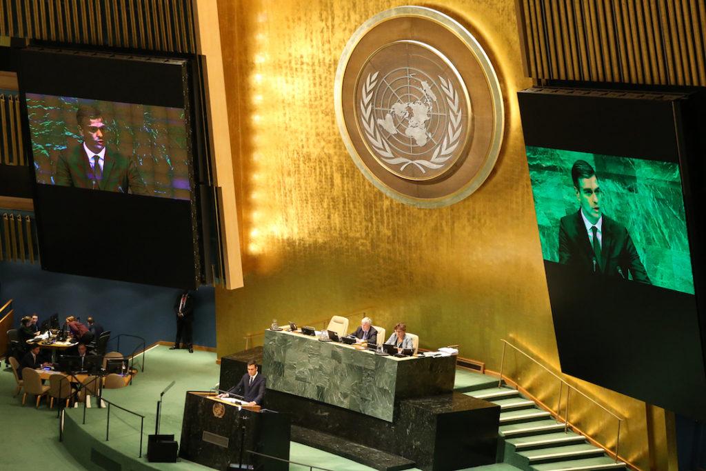 El presidente del Gobierno, Pedro Sánchez, durante su intervención en la 73 Asamblea General de Naciones Unidas.