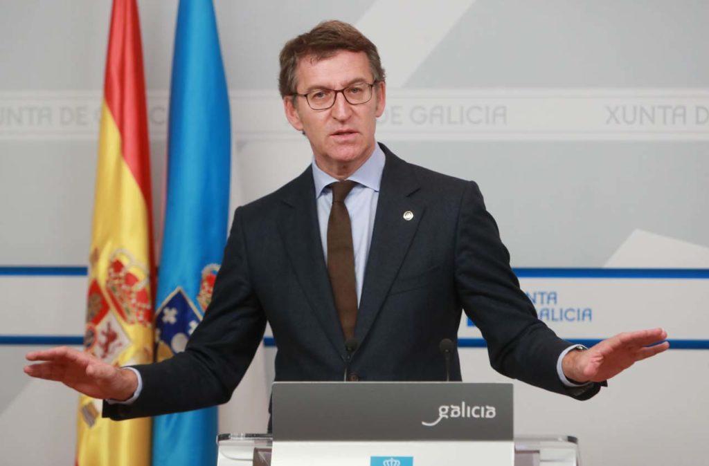 El presidente del Ejecutivo autonómico, Alberto Núñez Feijóo, en la rueda de prensa posterior a la reunión del Consello de la Xunta.