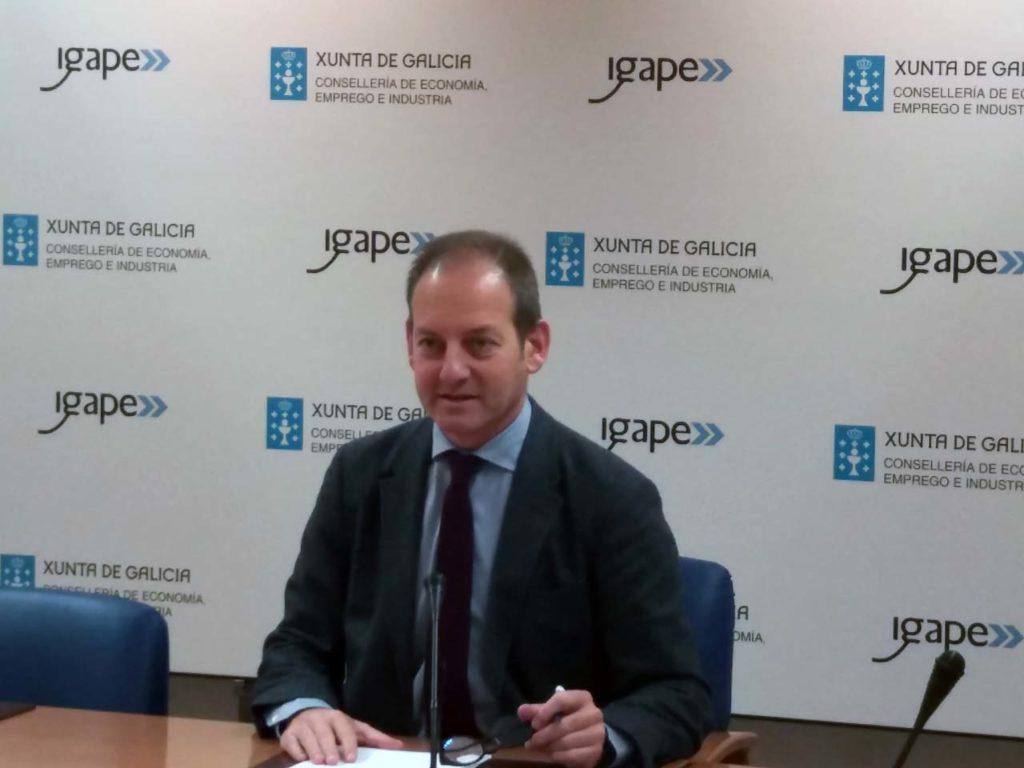 El director del Igape, Juan Cividanes, en la rueda de prensa en la que presentó los resultados de las exportaciones de las empresas gallegas.