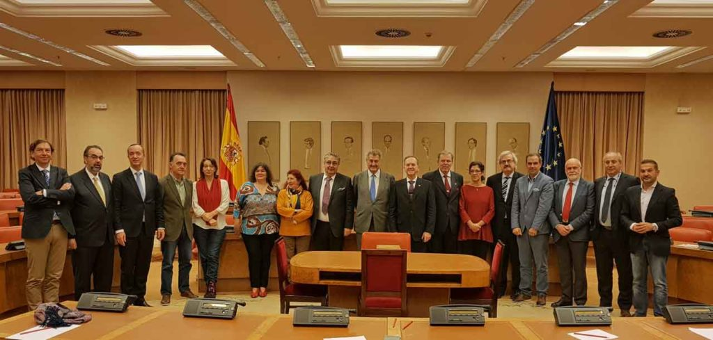 Los miembros de la subcomisión para la reforma electoral con los consejeros del CGCEE.