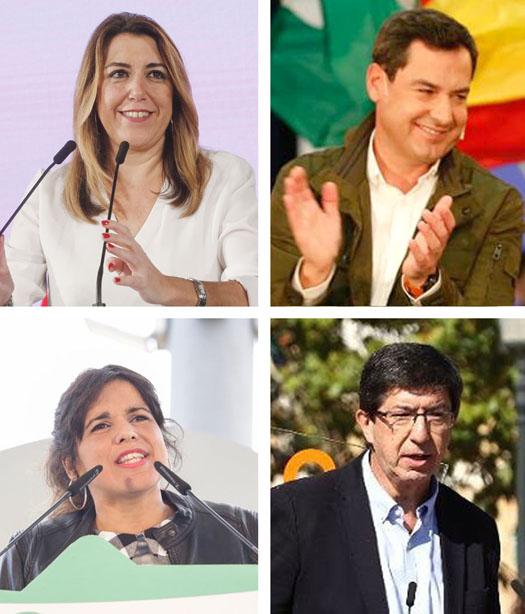 Los candidatos de los principales partidos (de izquierda a derecha y de arriba a abajo): Susana Díaz (PSOE), Juan Manuel Moreno Bonilla (PP), Teresa Rodríguez (Adelante Andalucía) y Juan Marín (Ciudadanos).