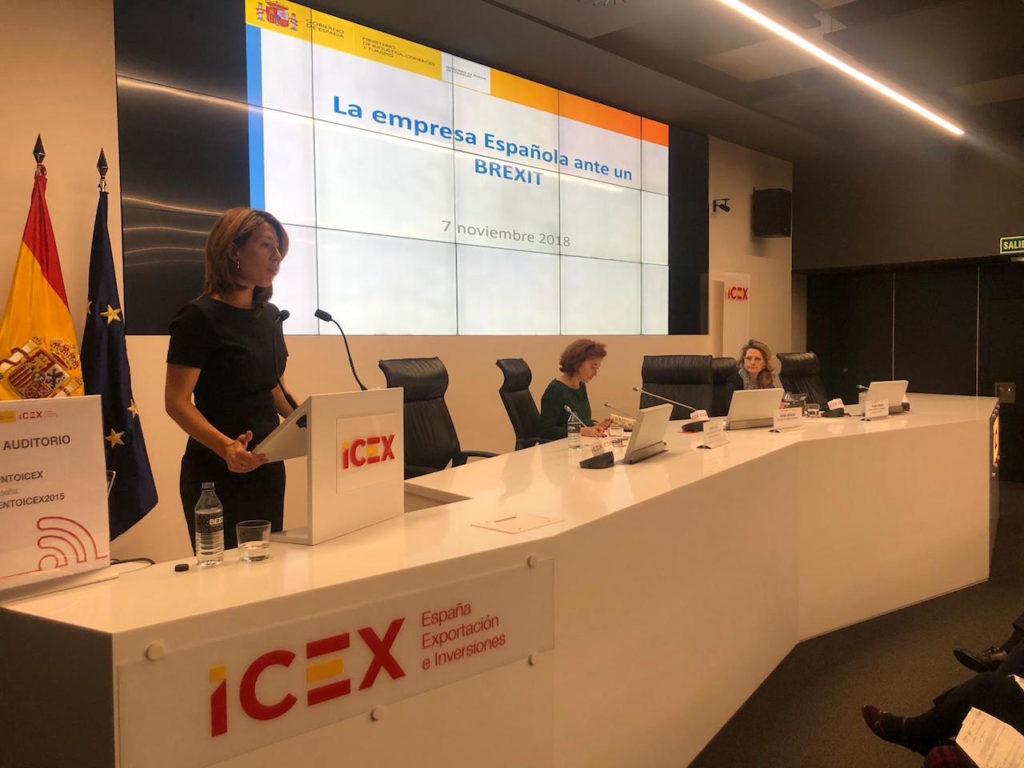 La secretaria de Estado de Comercio, Xiana Méndez, durante su intervención en el transcurso de la jornada celebrada en el ICEX y que supuso el primer acto de esta campaña.