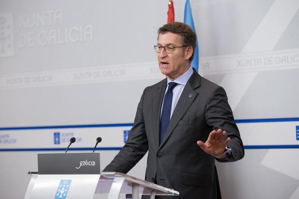 El presidente de la Xunta, en la rueda de prensa posterior al Consello.