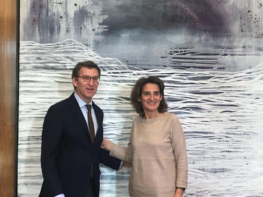 El presidente del Gobierno gallego, Alberto Núñez Feijóo, se reunió en Madrid con la ministra para la Transición Ecológica, Teresa Ribera.