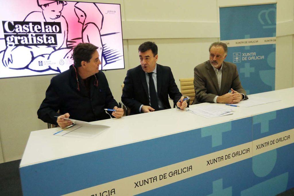 Luis García Montero, Román Rodríguez y Manuel Quintana en la firma del acuerdo.