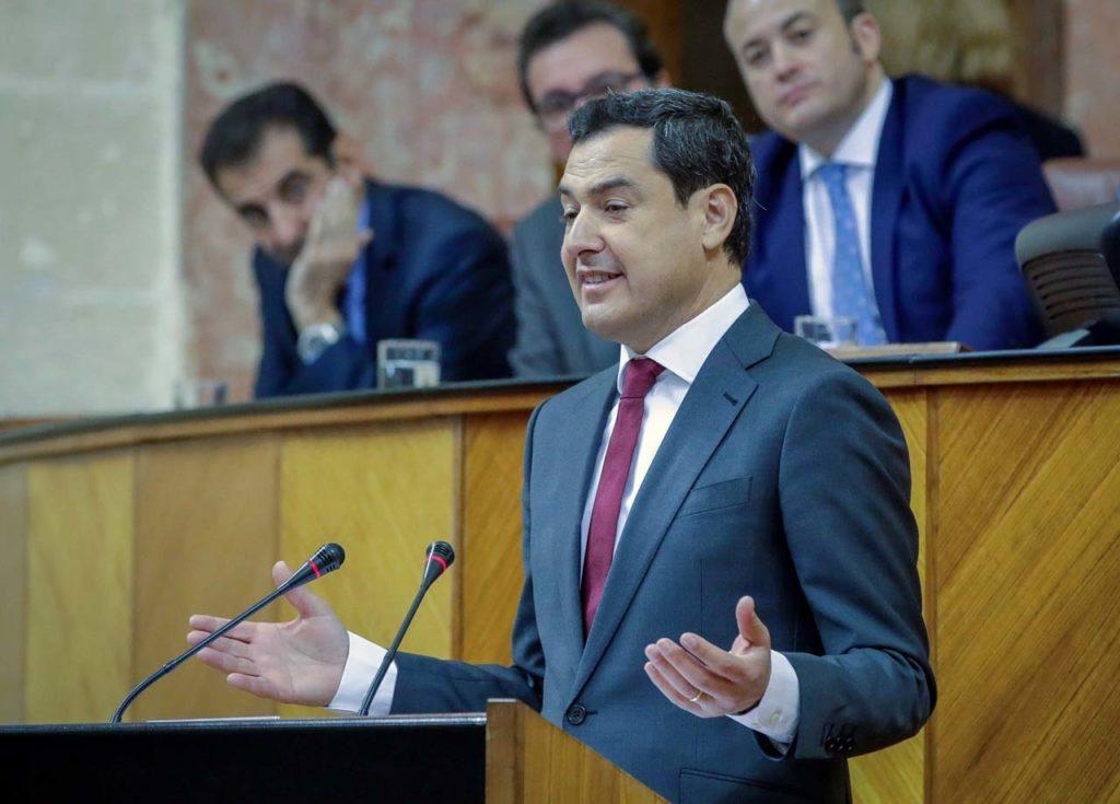 Juan Manuel Moreno Bonilla, nuevo presidente de la Junta de Andalucía, durante su intervención en el Parlamento en la segunda jornada del debate de investidura.
