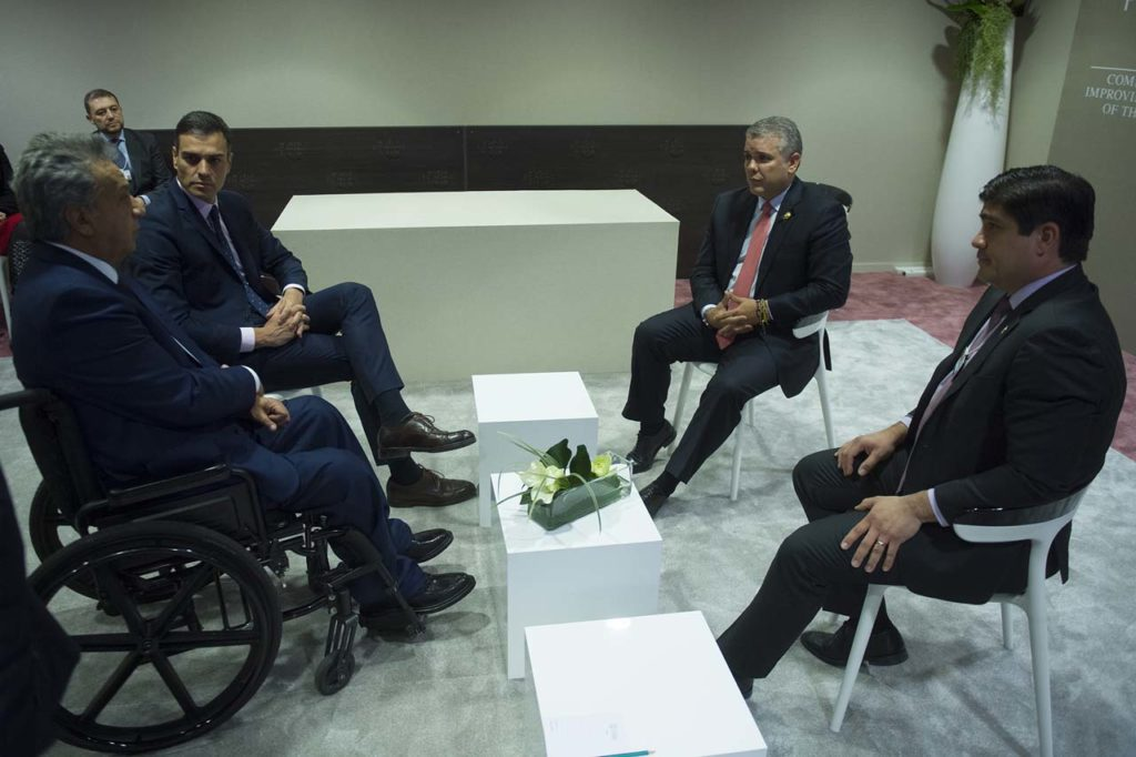 Pedro Sánchez, durante su reunión con los presidentes de Ecuador, Colombia y Costa Rica.