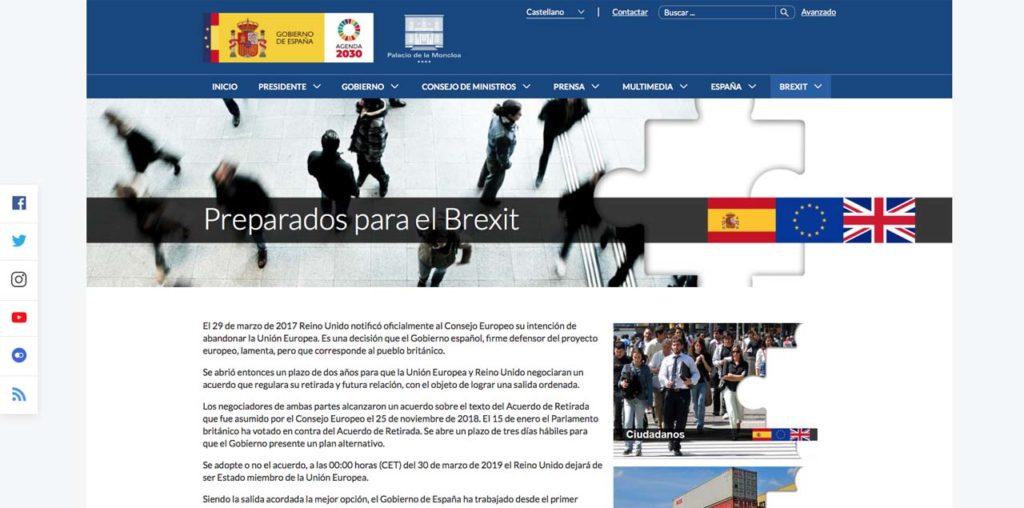 Portada de la web informativa sobre el brexit.