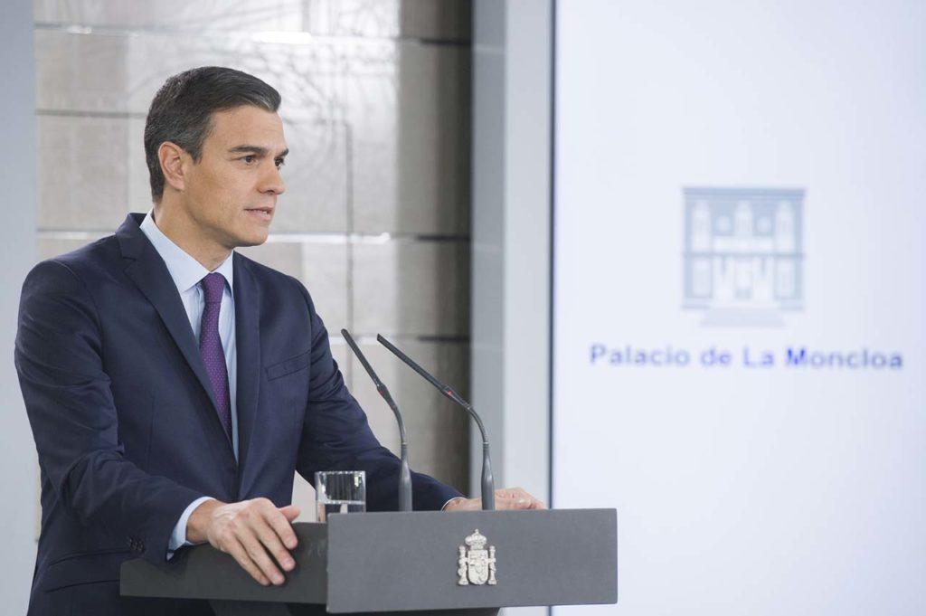 El presidente del Gobierno, Pedro Sánchez, durante su comparecencia en La Moncloa para realizar una declaración oficial sobre Venezuela.