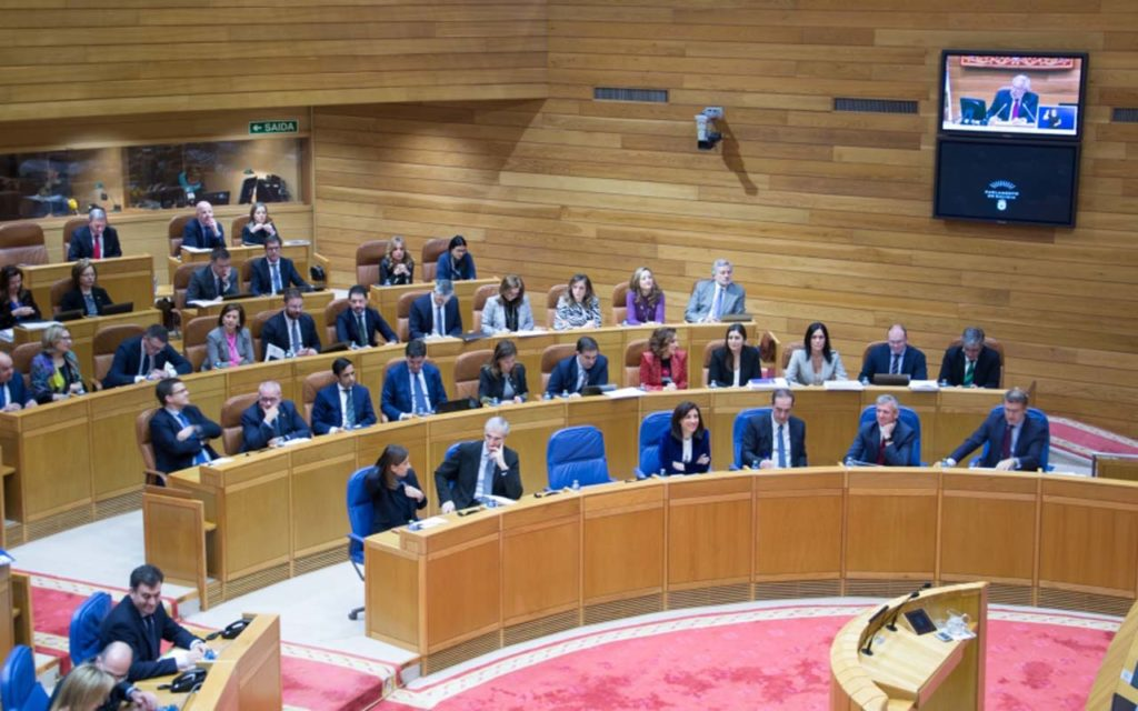 Imagen de la sesión parlamentaria, con los miembros del Gobierno gallego sentados en los bancos azules y, detrás, parte del grupo parlamentario del PPdeG.