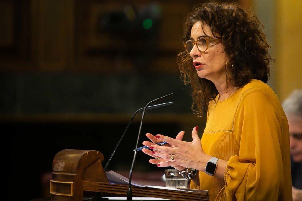 La ministra de Hacienda, María Jesús Montero, durante su intervención en el debate de los Presupuestos, antes de la votación.