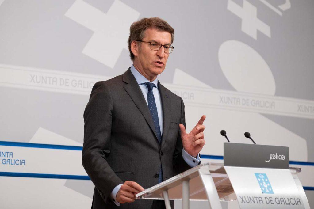 El presidente de la Xunta, Alberto Núñez Feijóo, en la rueda de prensa del Consello del pasado 21 de marzo.