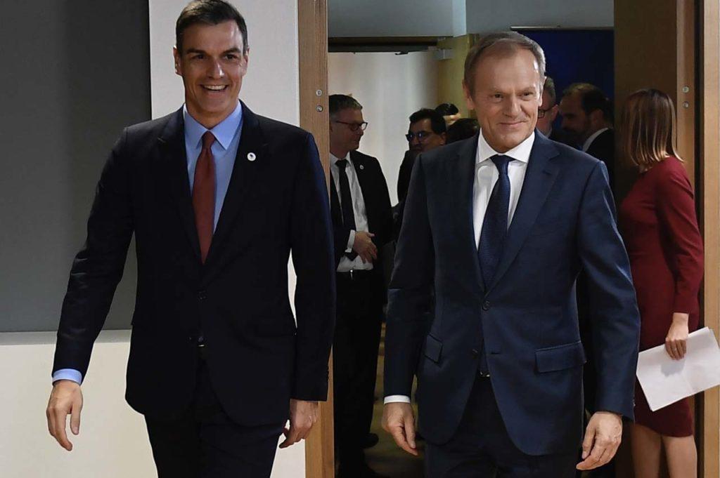 Pedro Sánchez se reunió con el presidente del Consejo Europeo, Donald Tusk.