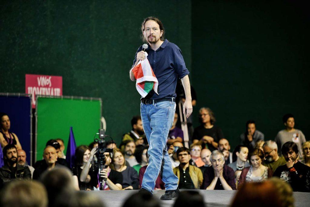 Pablo Iglesias en un mitin en el País Vasco.