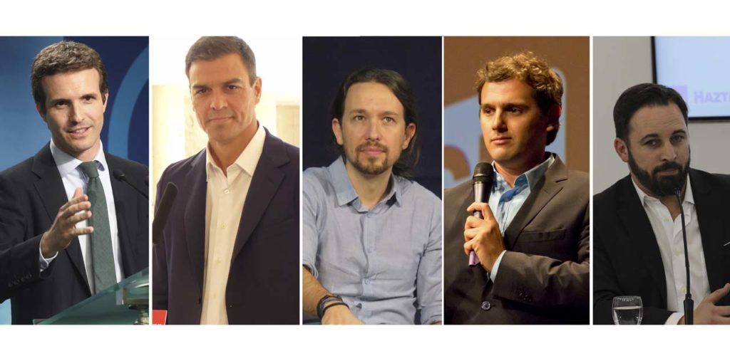 Pablo Casado (PP), Pedro Sánchez (PSOE), Pablo Iglesias (Unidas Podemos), Albert Rivera (Ciudadanos) y Santiago Abascal (Vox).