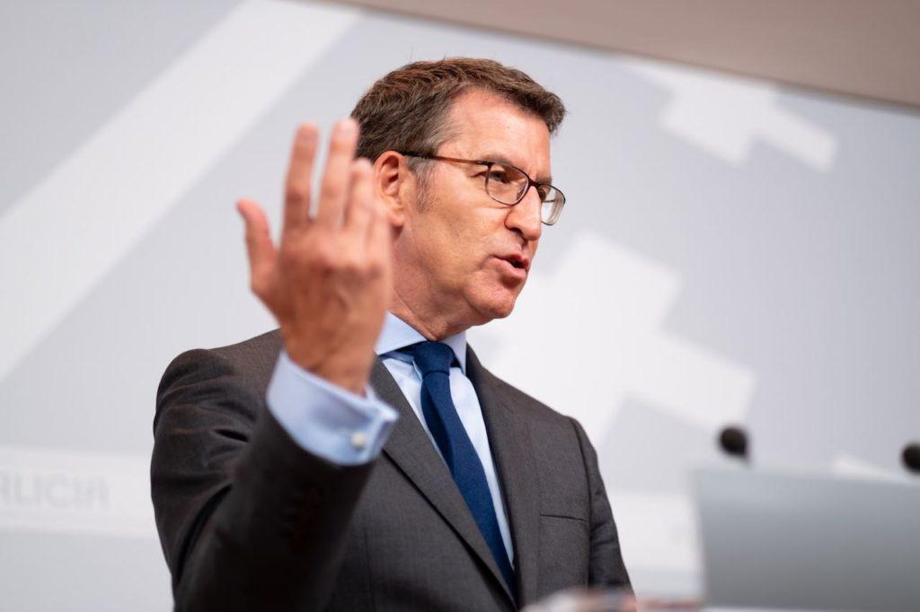 El titular del Gobierno gallego, Alberto Núñez Feijóo, en la rueda de prensa posterior a la reunión del Consello de la Xunta.