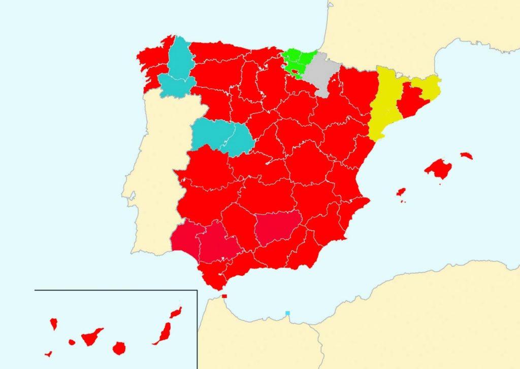 En rojo provincias donde ganó el PSOE, azul el PP, verde el PNV, gris Navarra Suma y amarillo Esquerra Republicana.