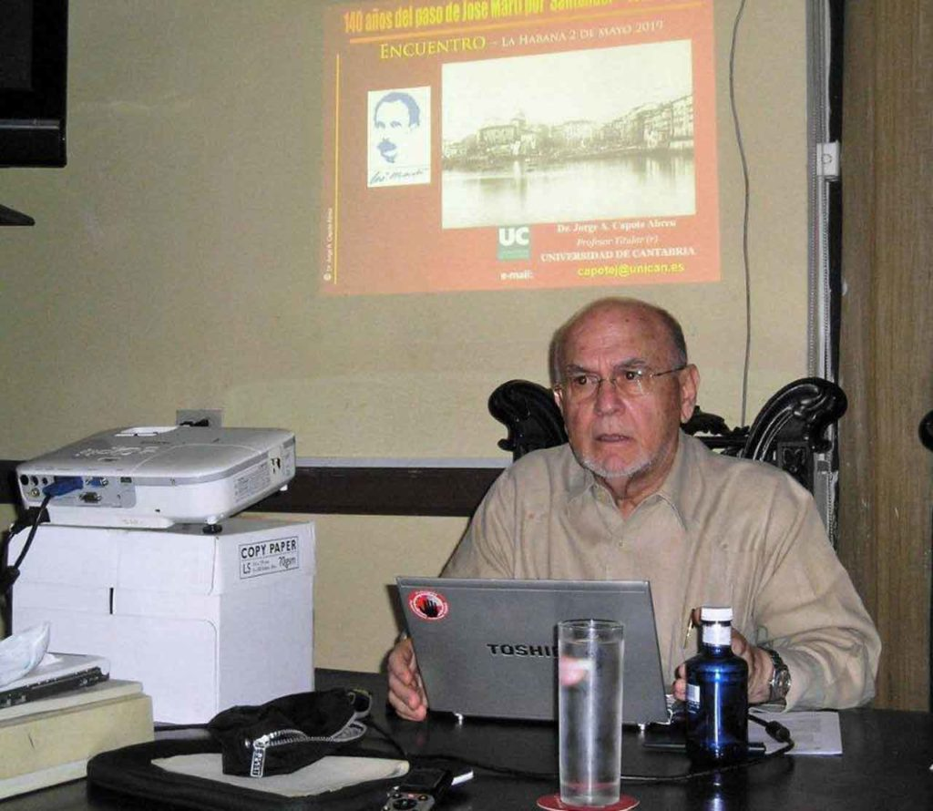 El profesor Jorge Capote presentó su proyecto 'Huellas de José Martí en Santander'.