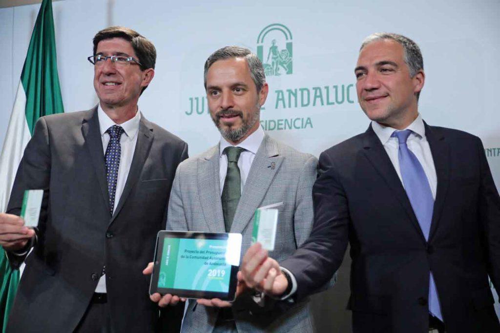 Los consejeros Marín, Bravo y Bendodo presentaron el Proyecto de Presupuestos para 2019.