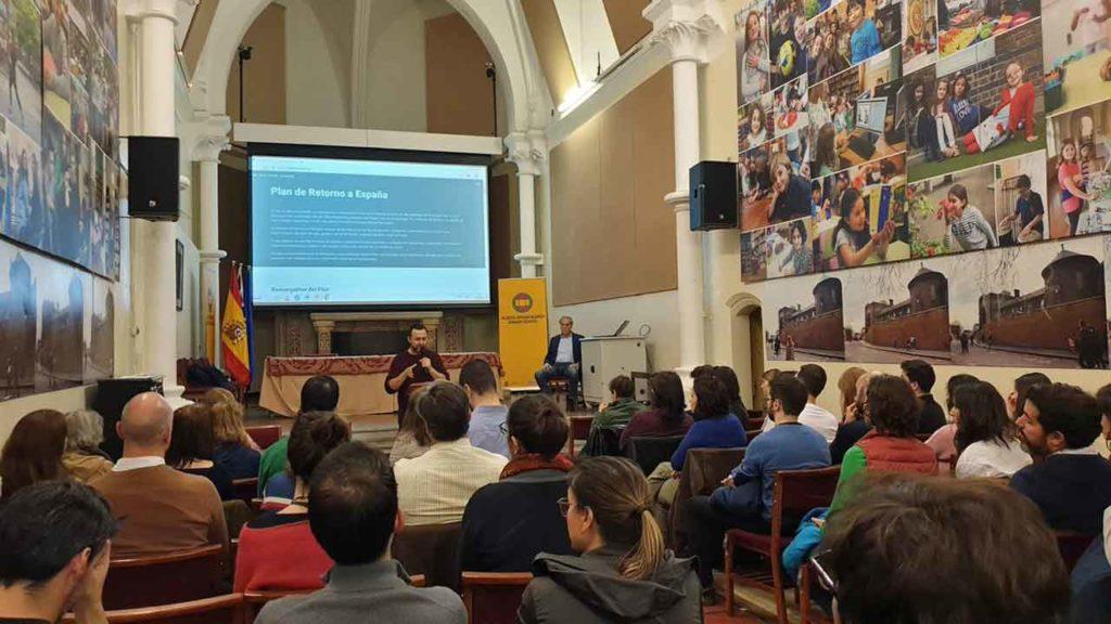 Imagen de la presentación del Plan de Retorno a España en Londres.