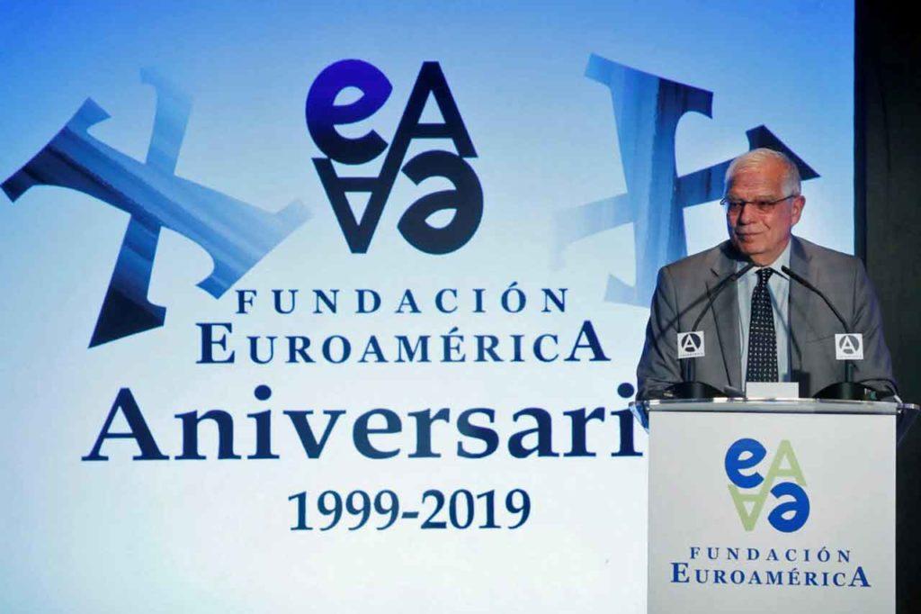 Borrell durante su intervención en el acto por el vigésimo aniversario de la Fundación Euroamérica.
