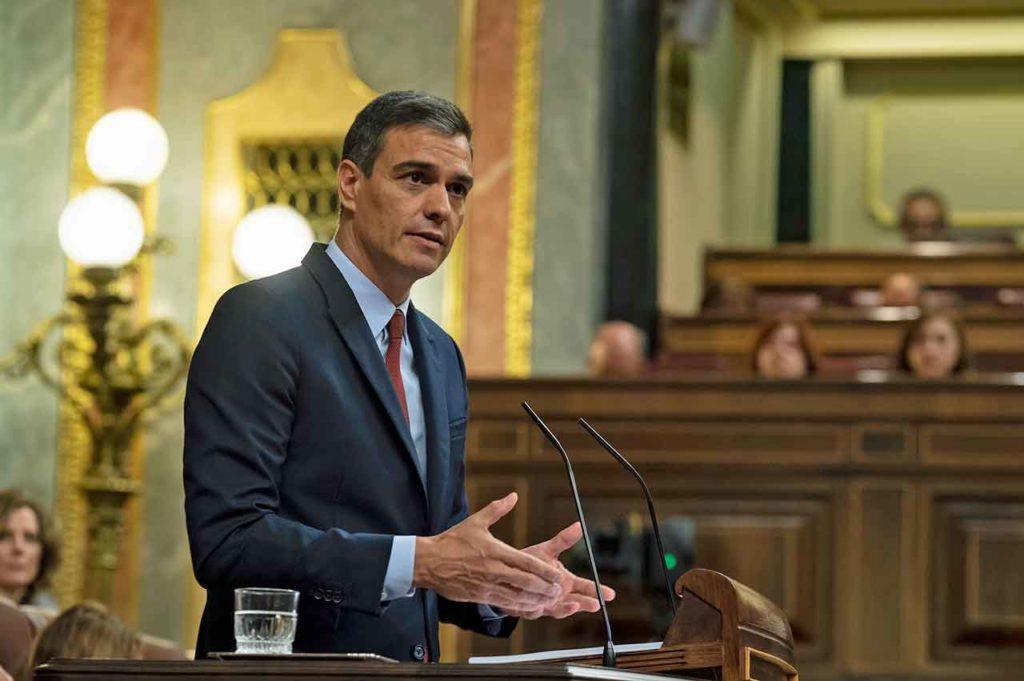 Pedro Sánchez durante su discurso de investidura.