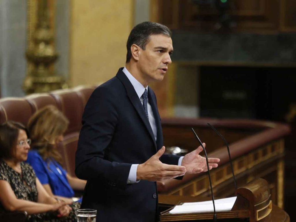 Pedro Sánchez, en el Congreso, durante su discurso de investidura.