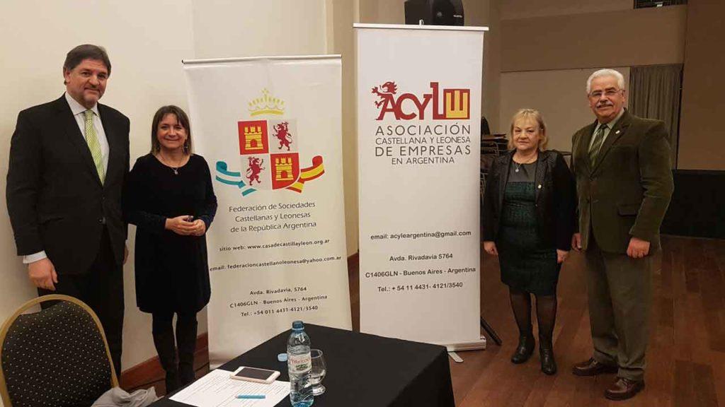 Juan Carlos Martínez, Julia Hernando, Emilce Arroyo Pastor y Néstor Seijas, vicepresidente de la Federación de Sociedades Castellanas y Leonesas.