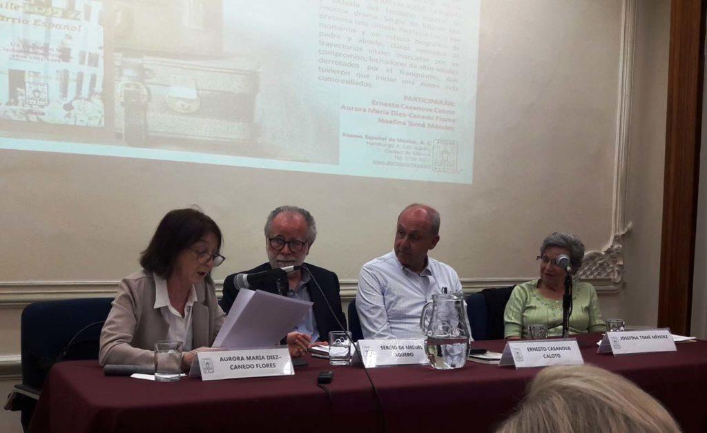 Intervención de Aurora María Díez-Canedo, doctora en Historia, ante el autor del libro y los dirigentes del Ateneo.