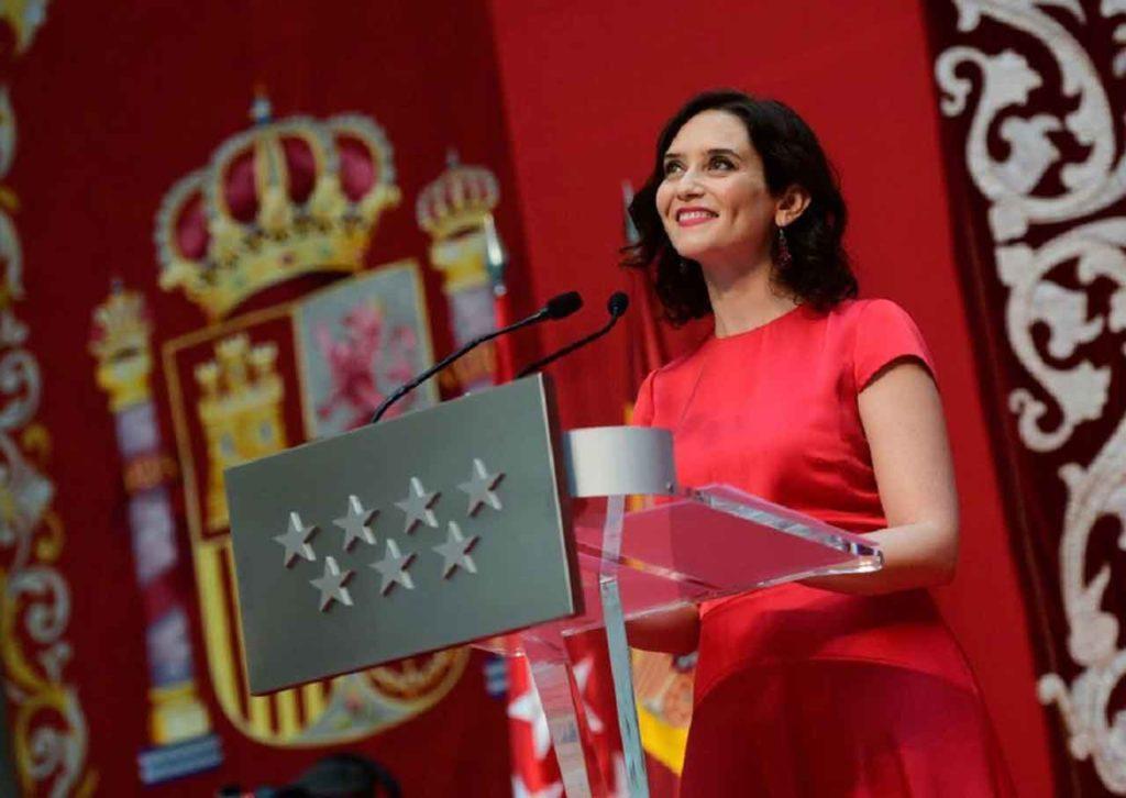 Isabel Díaz Ayuso, durante el acto de su toma de posesión como presidenta de la Comunidad de Madrid.